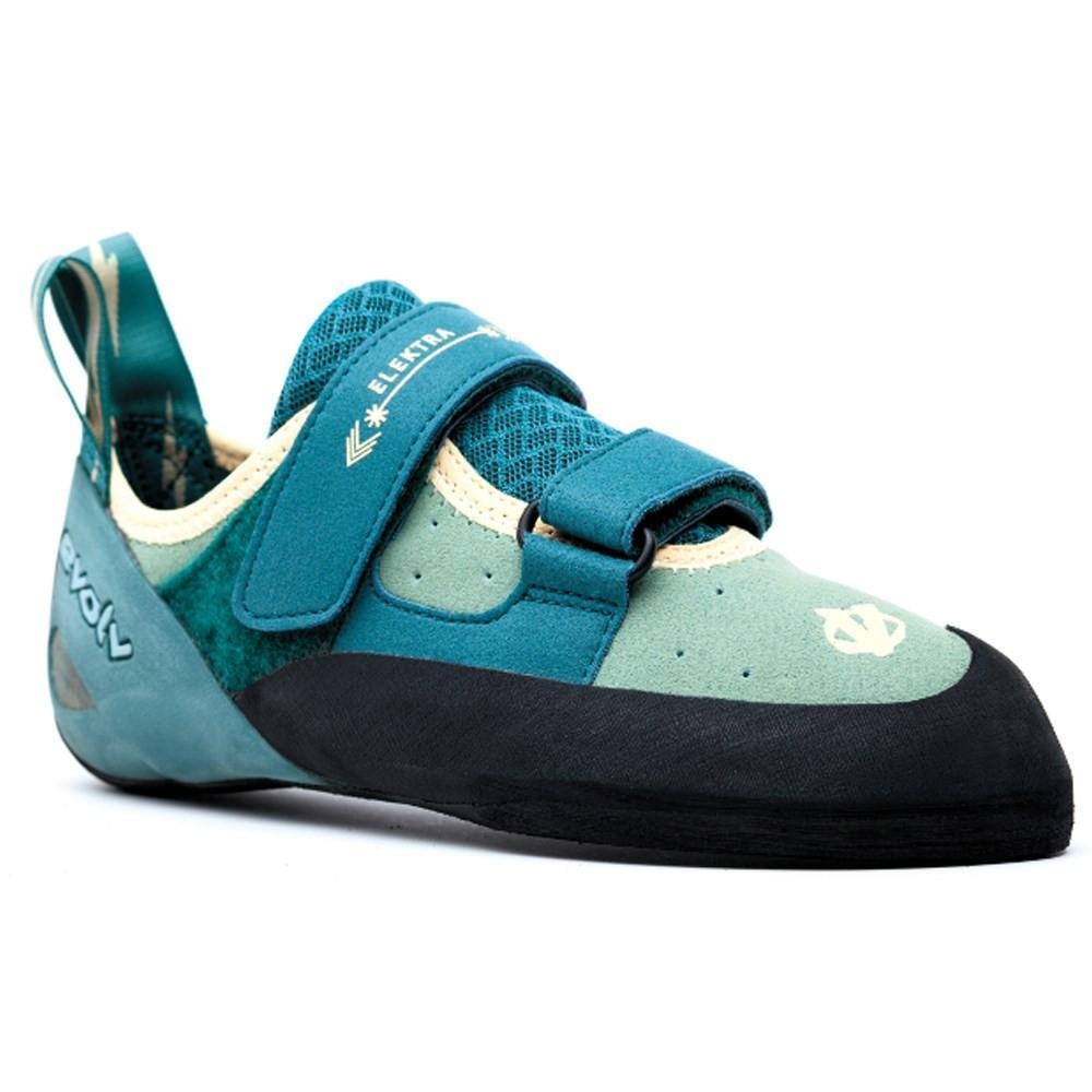 Evolv Elektra Womens climbing shoe, in blue and black colours