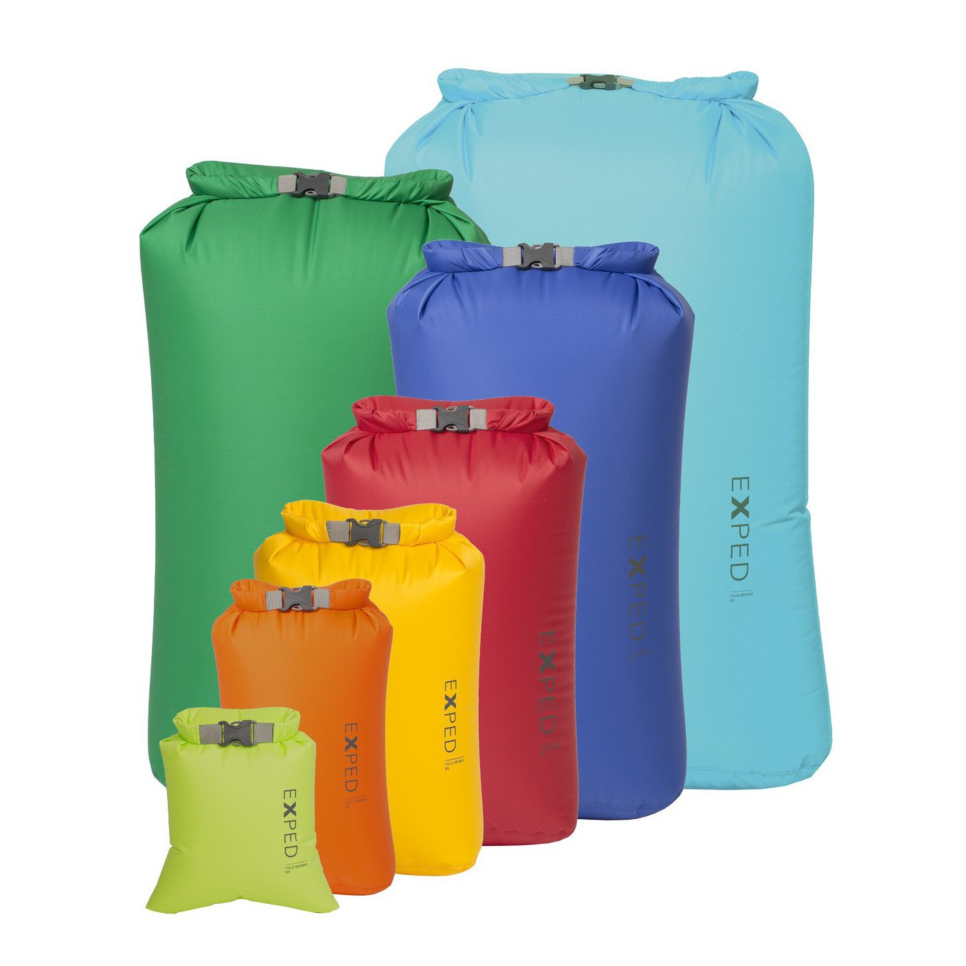 Range of Exped Fold Drybag BS in all colours and sizes