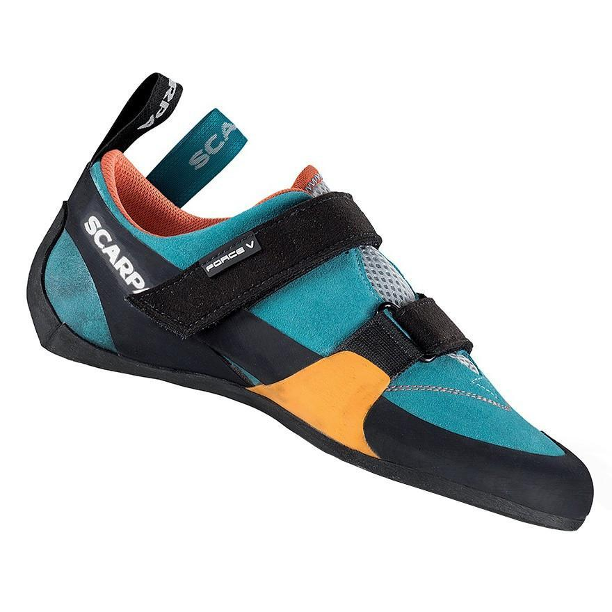Scarpa Force V Womens climbing shoe, in black, blue and orange colours