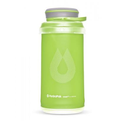 Hydrapak Stash 1 Litre bottle, in green colour with grey lid