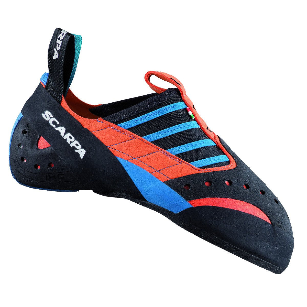 Scarpa Instinct SR climbing shoe, in black, red and blue colours