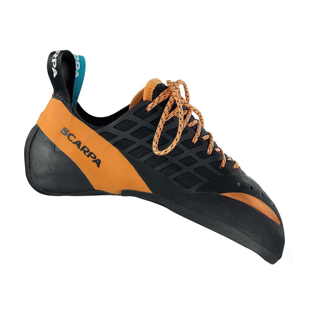 Scarpa Instinct Lace climbing shoe, in black and orange colours with orange laces