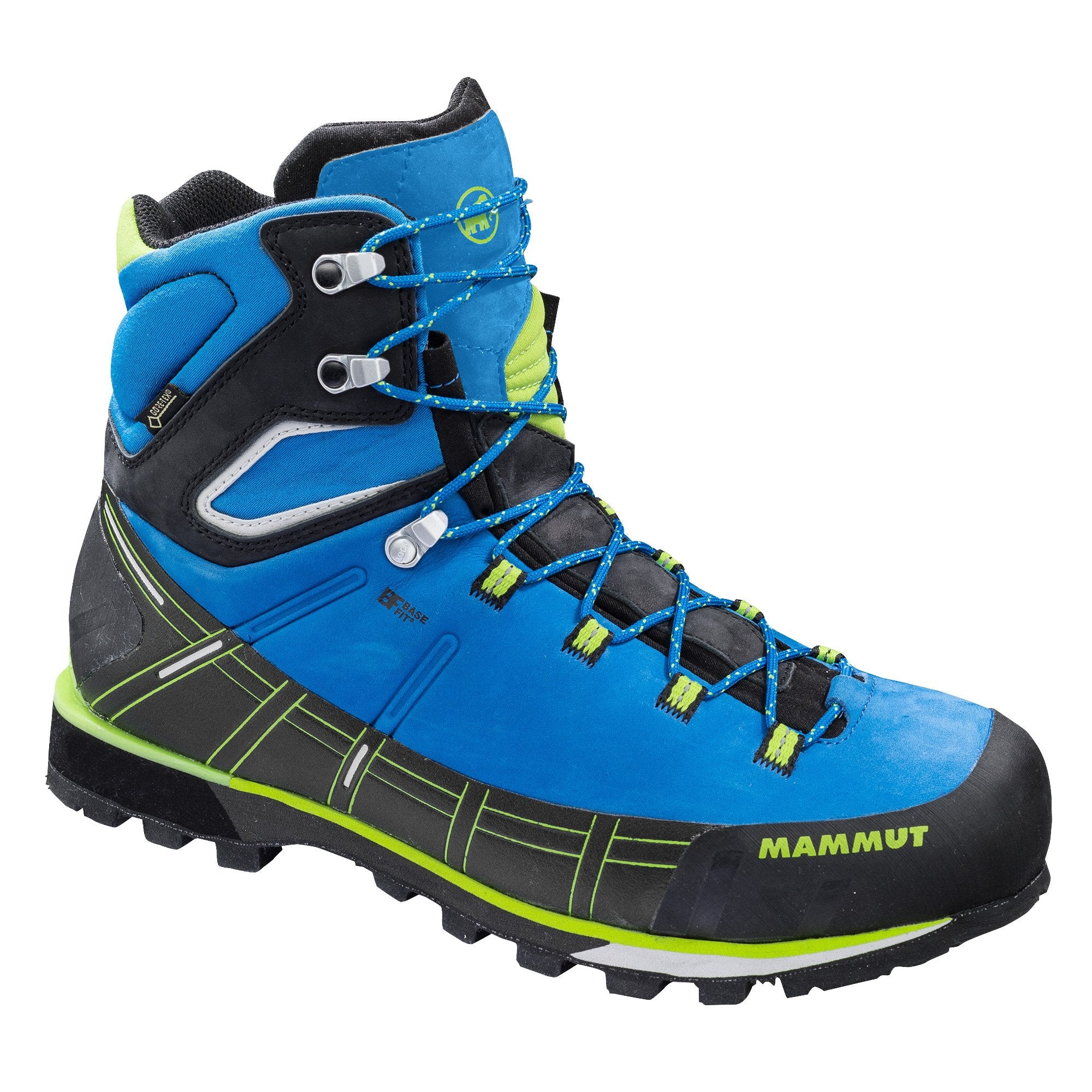 Mammut Kento High GTX mountaineering boot, outer/side view shown in black and blue colours