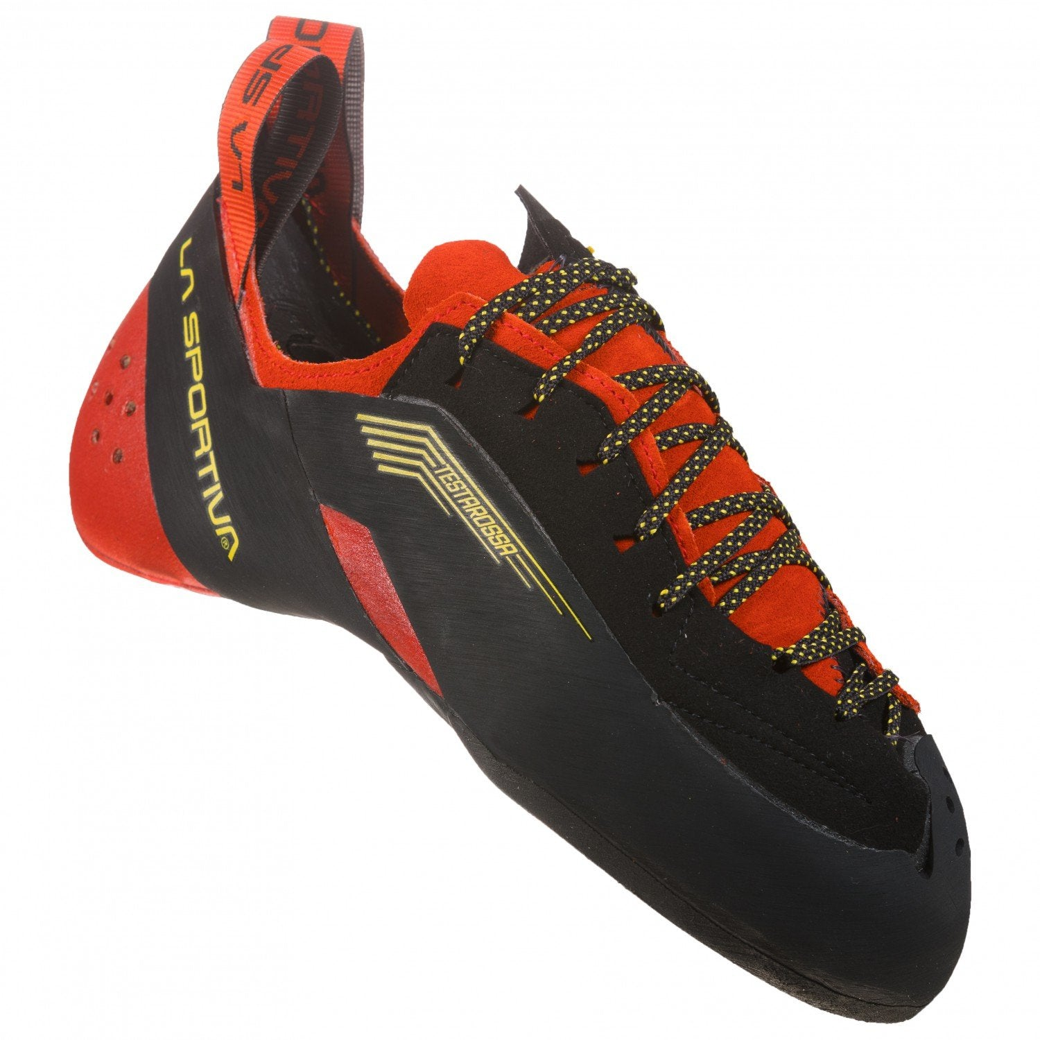 La Sportiva Testarossa climbing shoe, outer side view in red and black colours