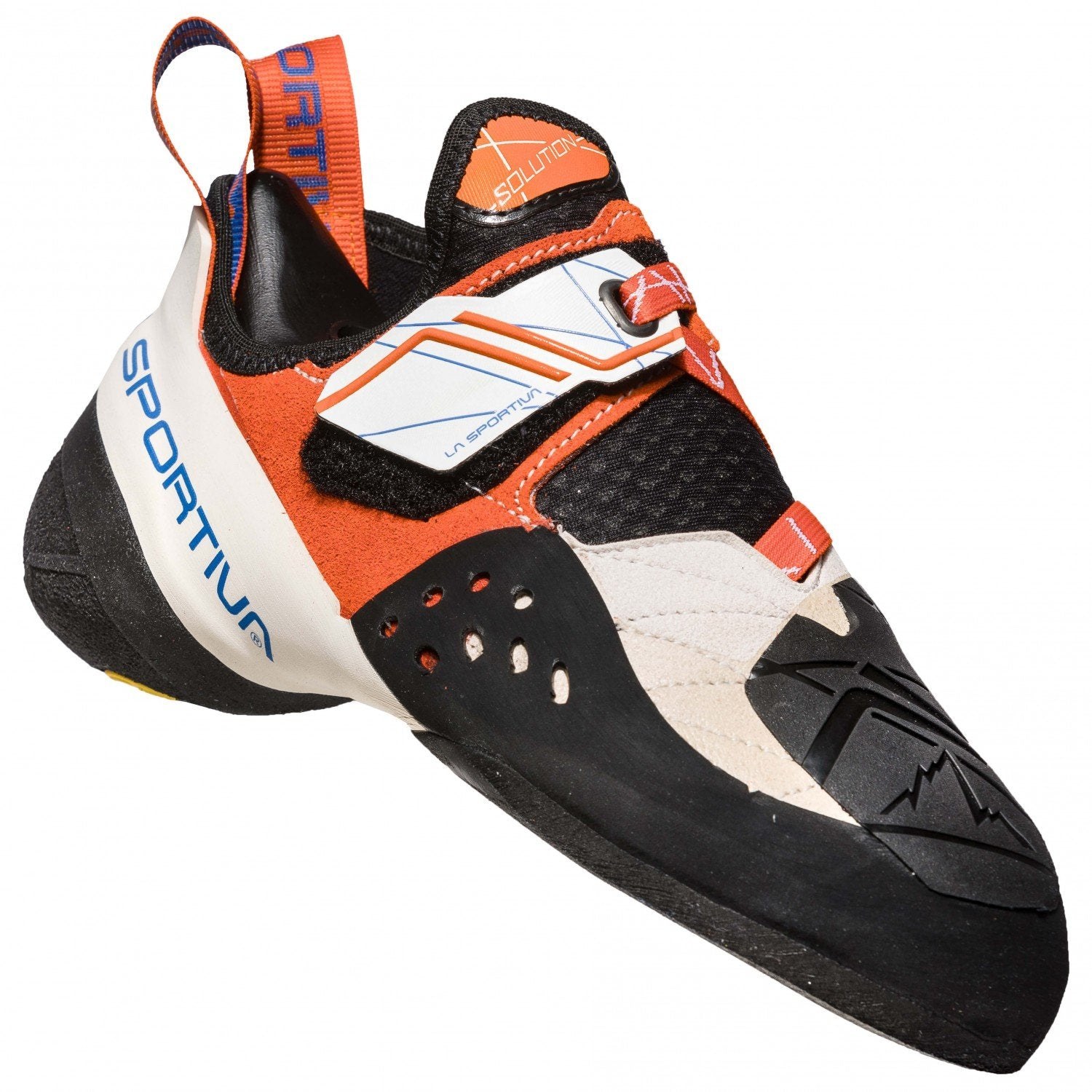 La Sportiva Solution Women's climbing shoe, in black, White and orange colour as seen from the side
