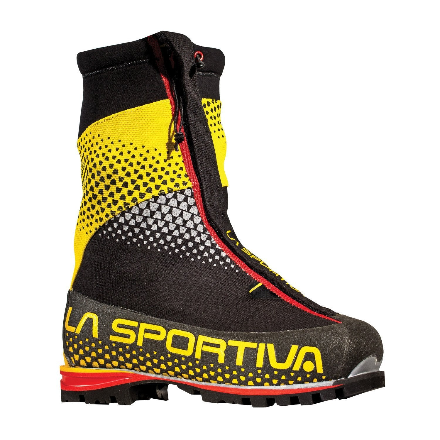 La Sportiva G2 SM Mountaineering Boot, outer side view in black and yellow colours