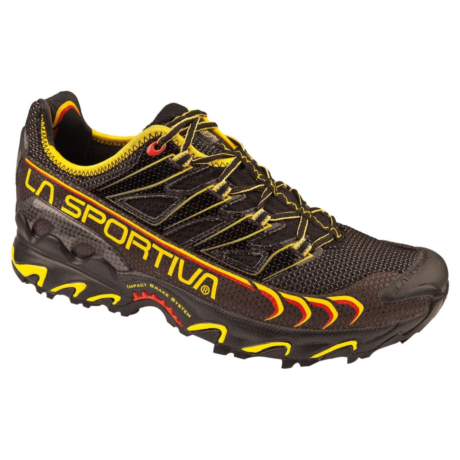 La Sportiva Ultra Raptor running shoe, outer side view in Black/Yellow colours