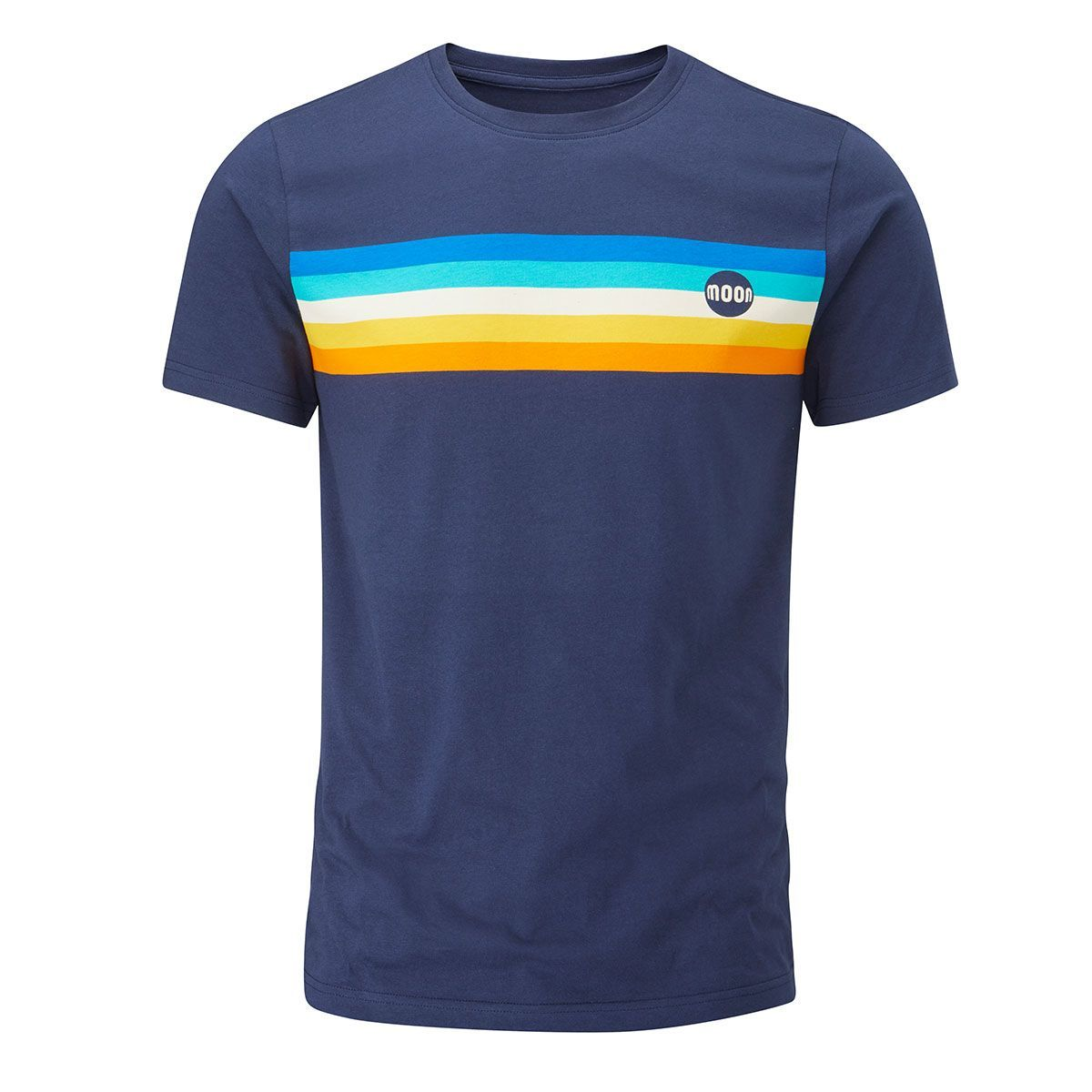 front view of the Moon Retro Stripe T-Shirt showing the stripes across the chest