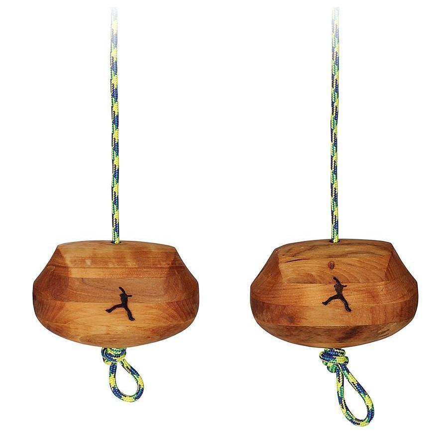 Metolius Portable Power Grips shown as a pair, in wooden colour, hanging from green/white cord