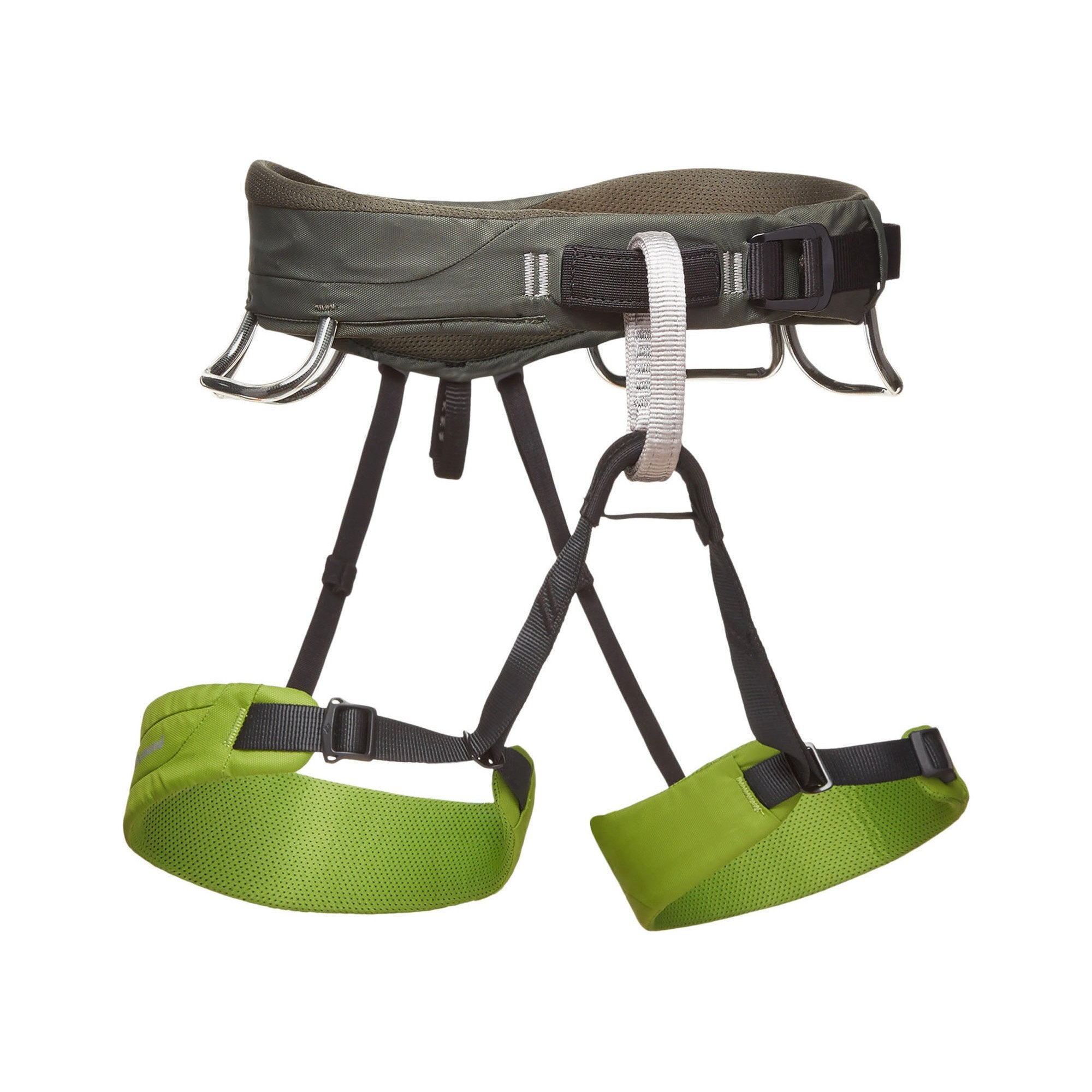 Black Diamond Momentum Harness, front/side view in grey and Green colours