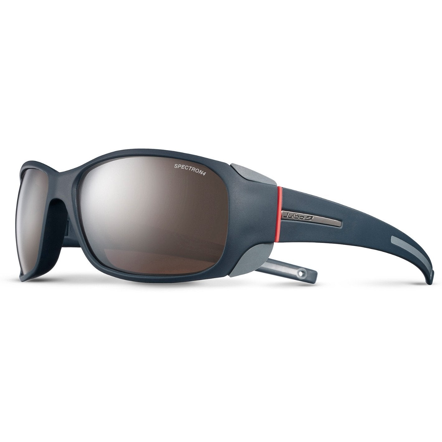 Julbo Monterosa Spectron 4, in blue/Grey/Coral colours, shown front/side on