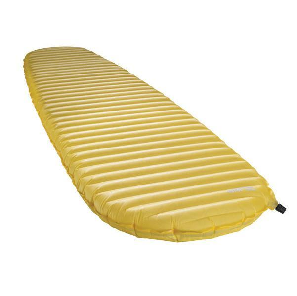 Thermarest NeoAir XLite Womens camping mat, shown inflated and laid flat, in yellow colour