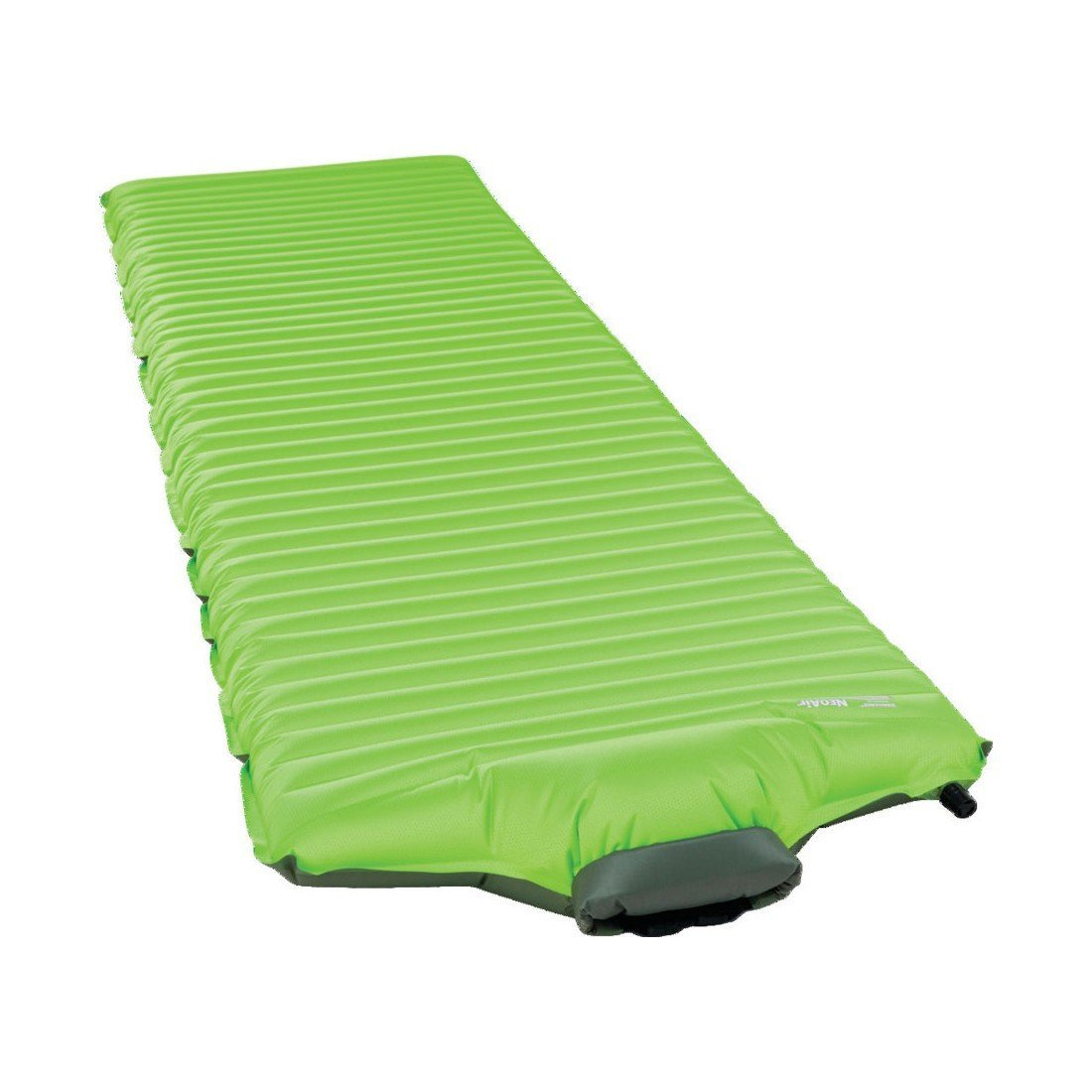 Thermarest NeoAir All Season SV Regular camping mat, shown inflated and laid flat in green colour