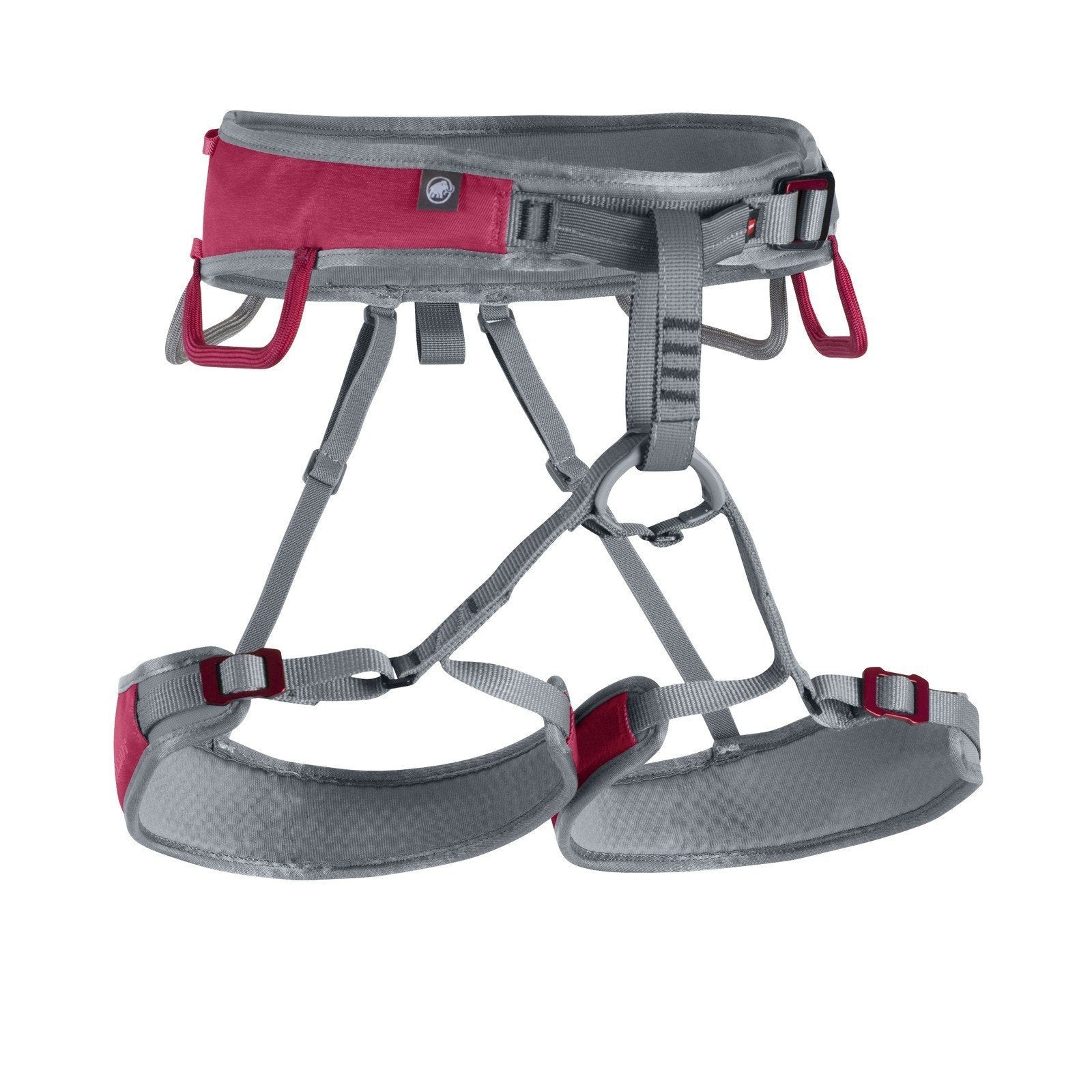 Mammut Ophir Speedfit Womens Harness, front view, in grey and red colours