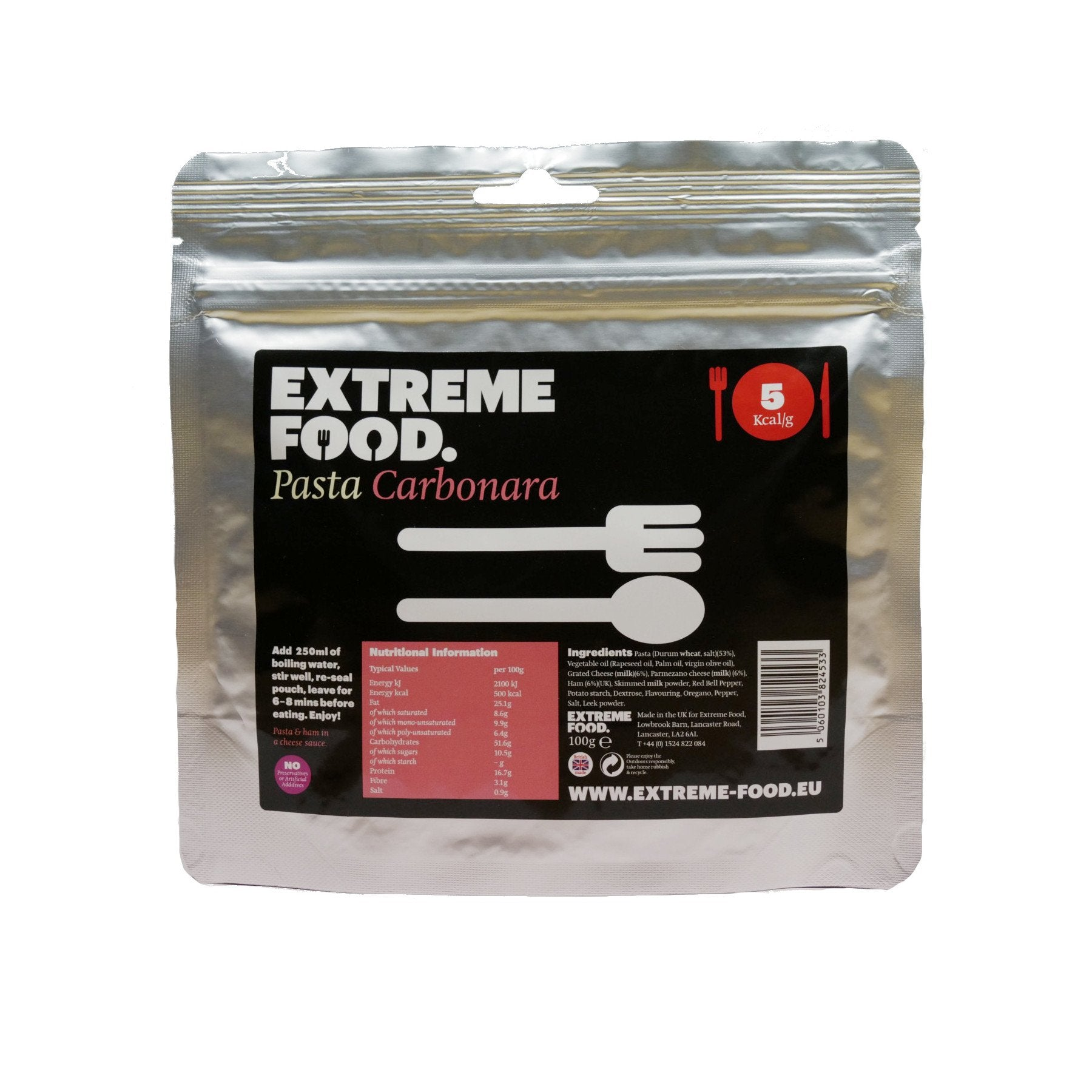 Extreme Food Pasta Carbonara, dried expedition food pack