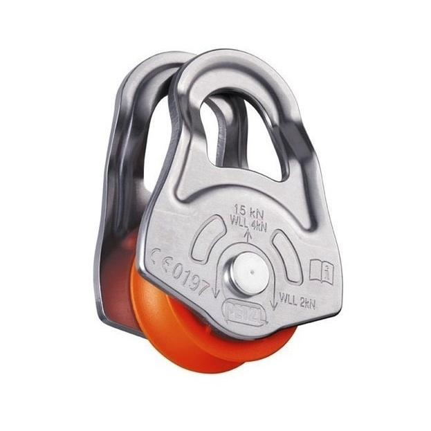 Petzl Oscillante emergency pulley, in silver and orange colour