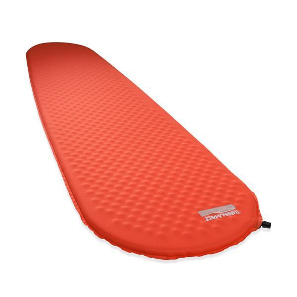 Thermarest Prolite Small camping mat, shown inflated and laid flat in red colour