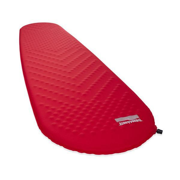 Thermarest Prolite Womens camping mat, shown inflated and laid flat in red colour