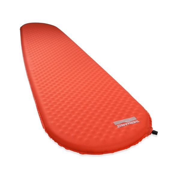 Thermarest Prolite Plus Regular camping mat, shown inflated and laid flat, in orange colour