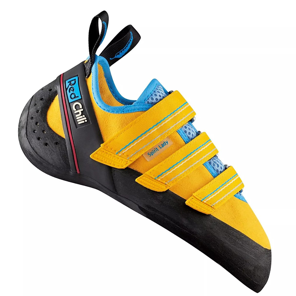 Red Chili Spirit Lady VCR climbing shoe, in black, yellow and blue colours