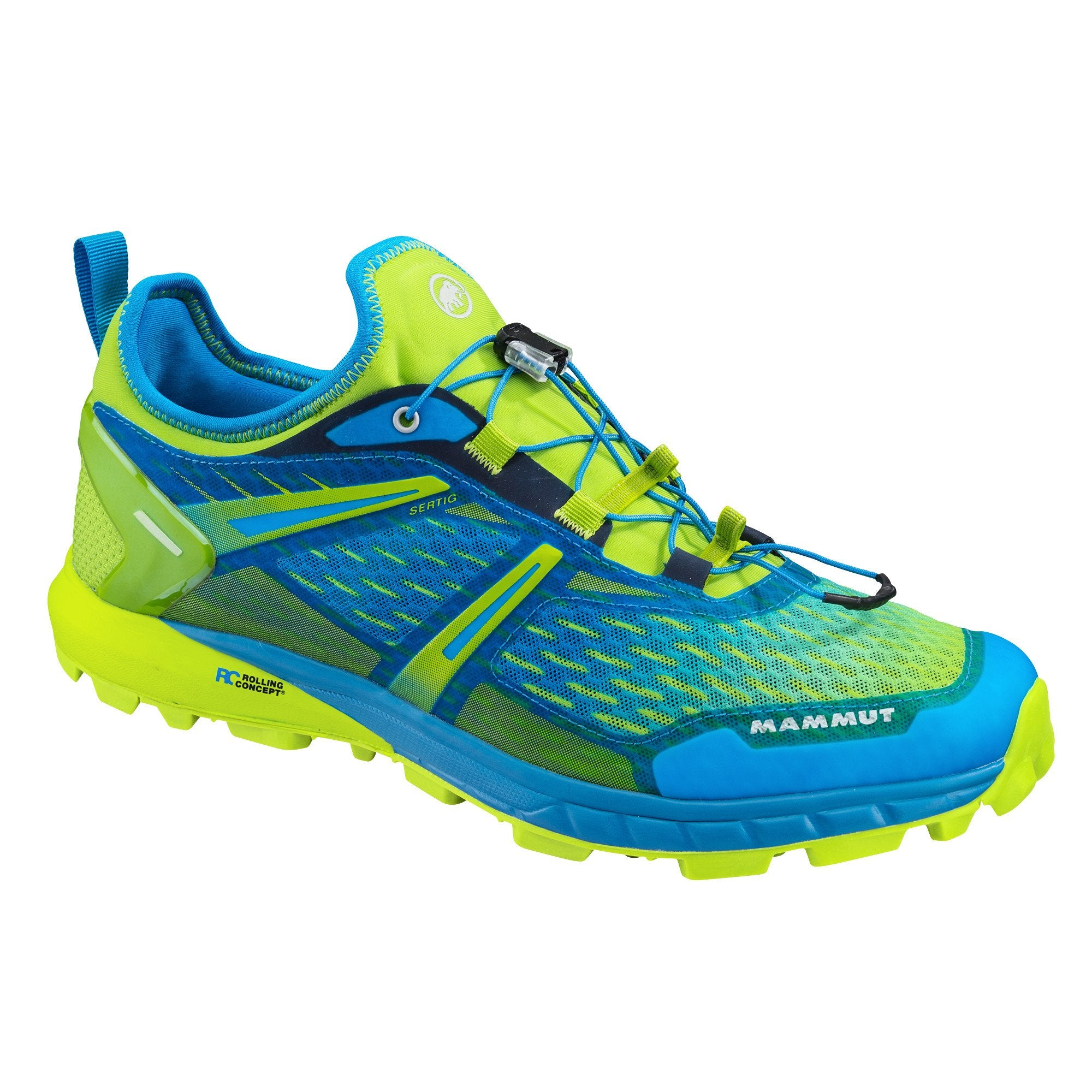 Mammut Sertig Low running shoe, outer side view in blue and lime green colours