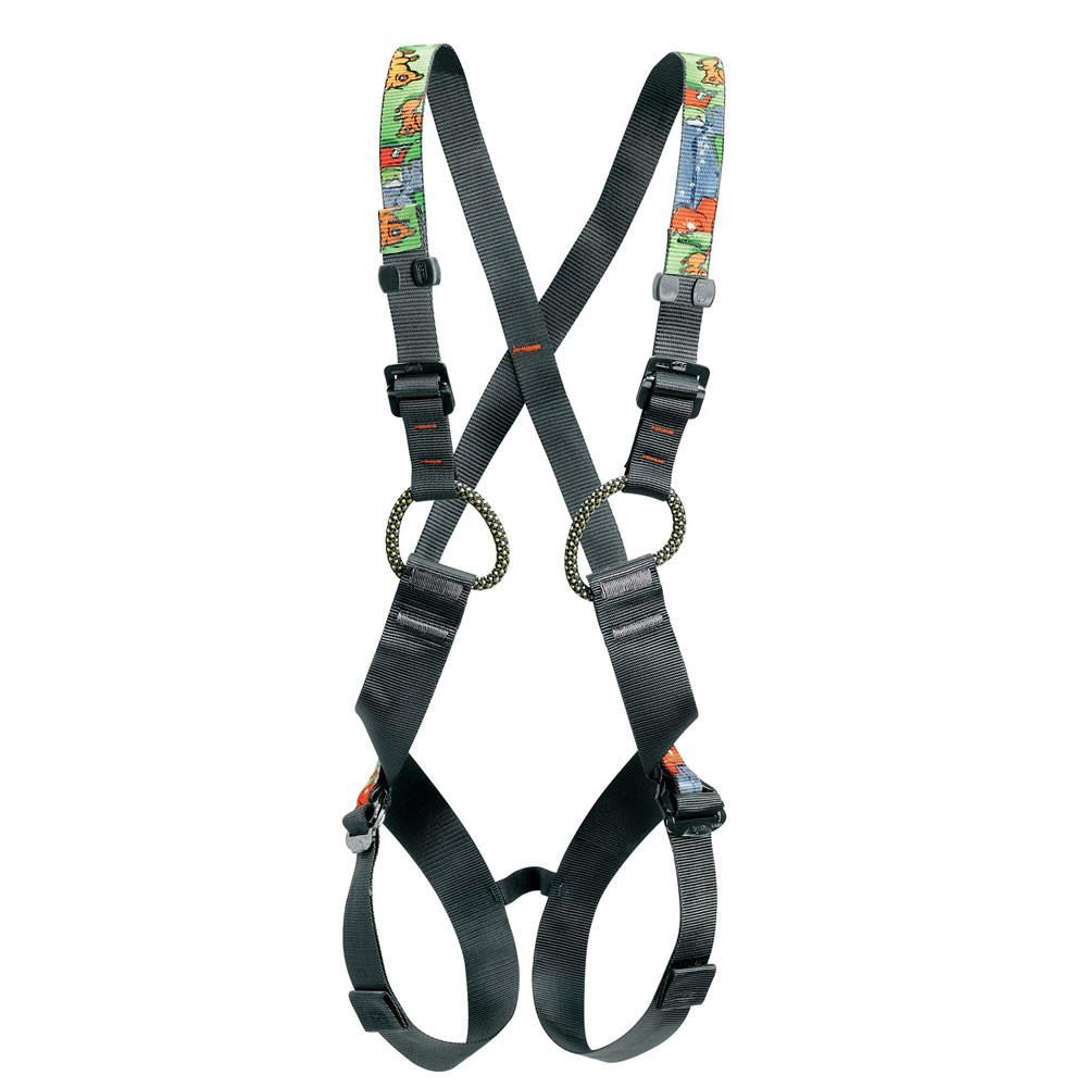 Petzl Simba kids climbing harness, front view, in black and yellow colours