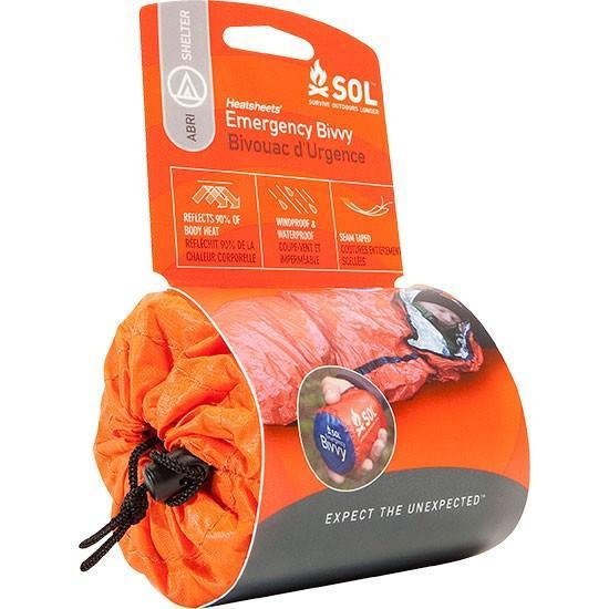 SOL Emergency Bivvy, survival shelter in the packaging, in orange colour
