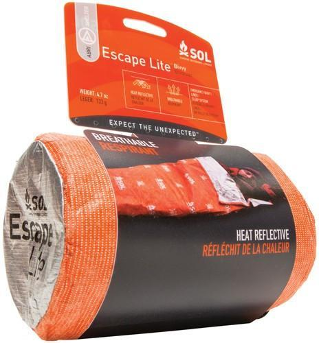 SOL Escape Lite Bivvy, an emergency survival shelter, shown in packaging