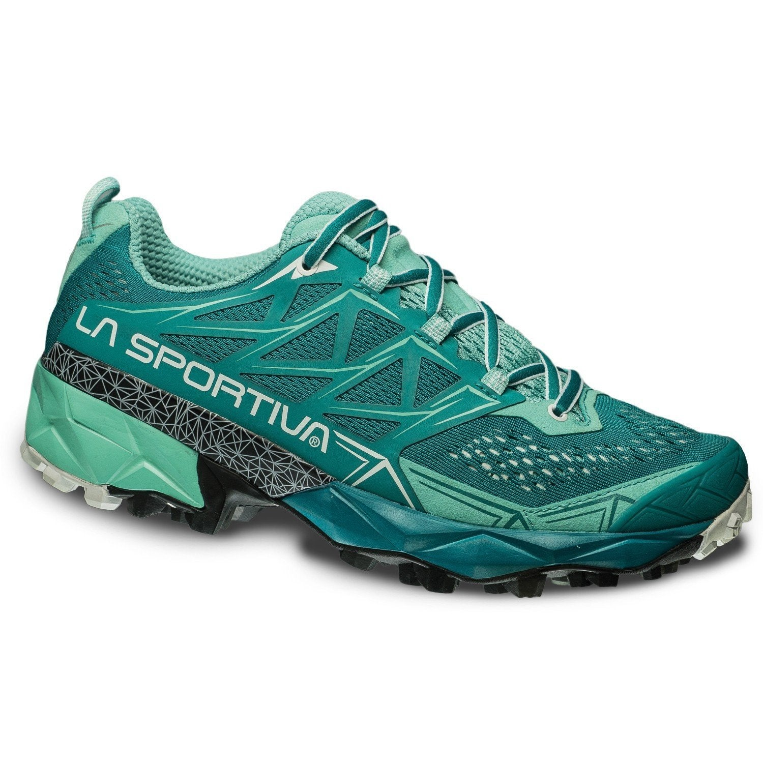 La Sportiva Akyra Womens trail running shoe, outer side view in green colours