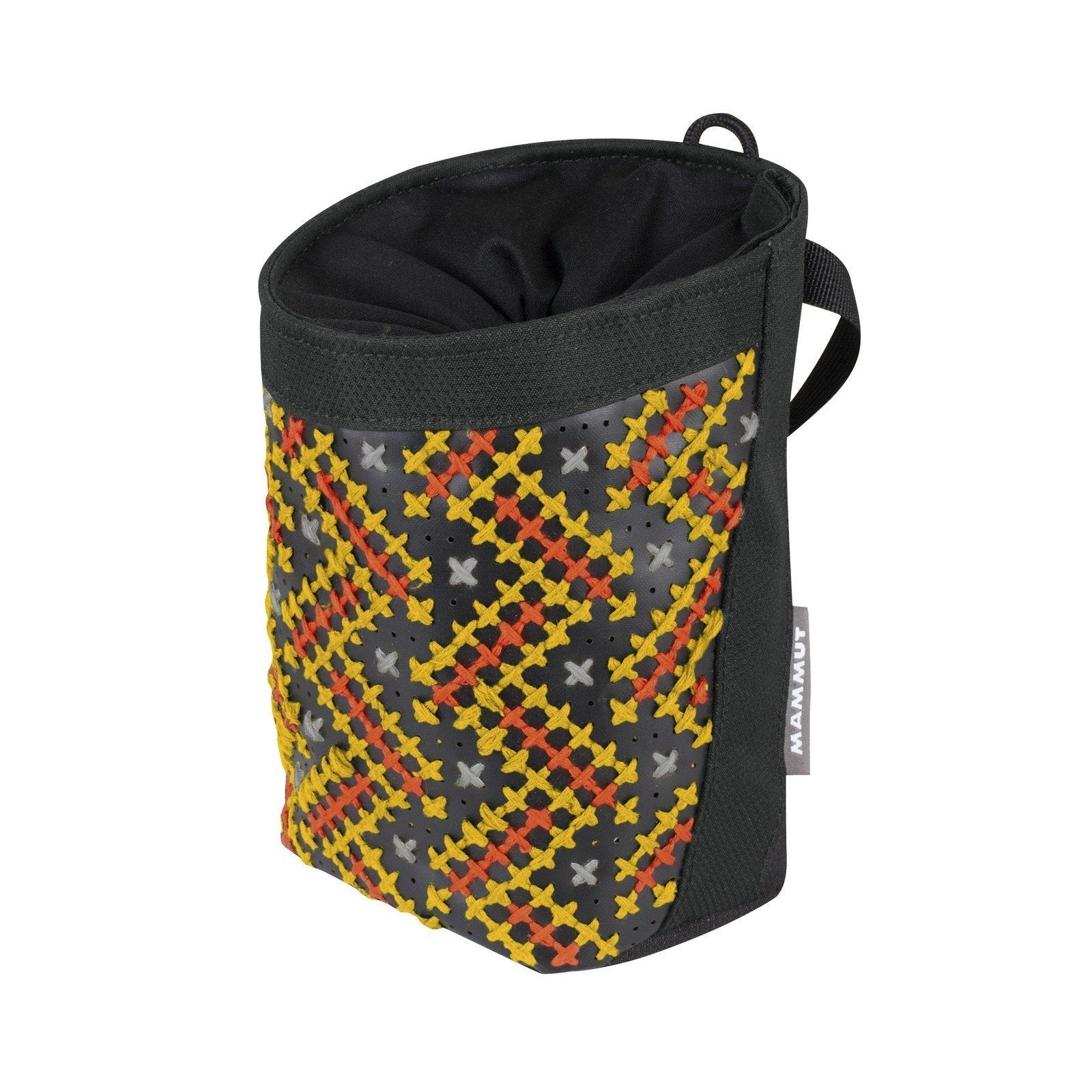 Mammut Stitch climbing Chalk Bag, in black and orange colours