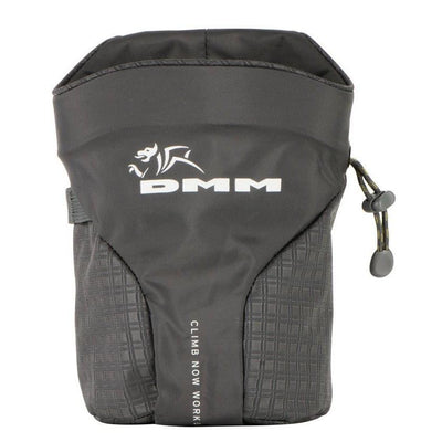 DMM Trad climbing Chalk Bag, front view in black colour