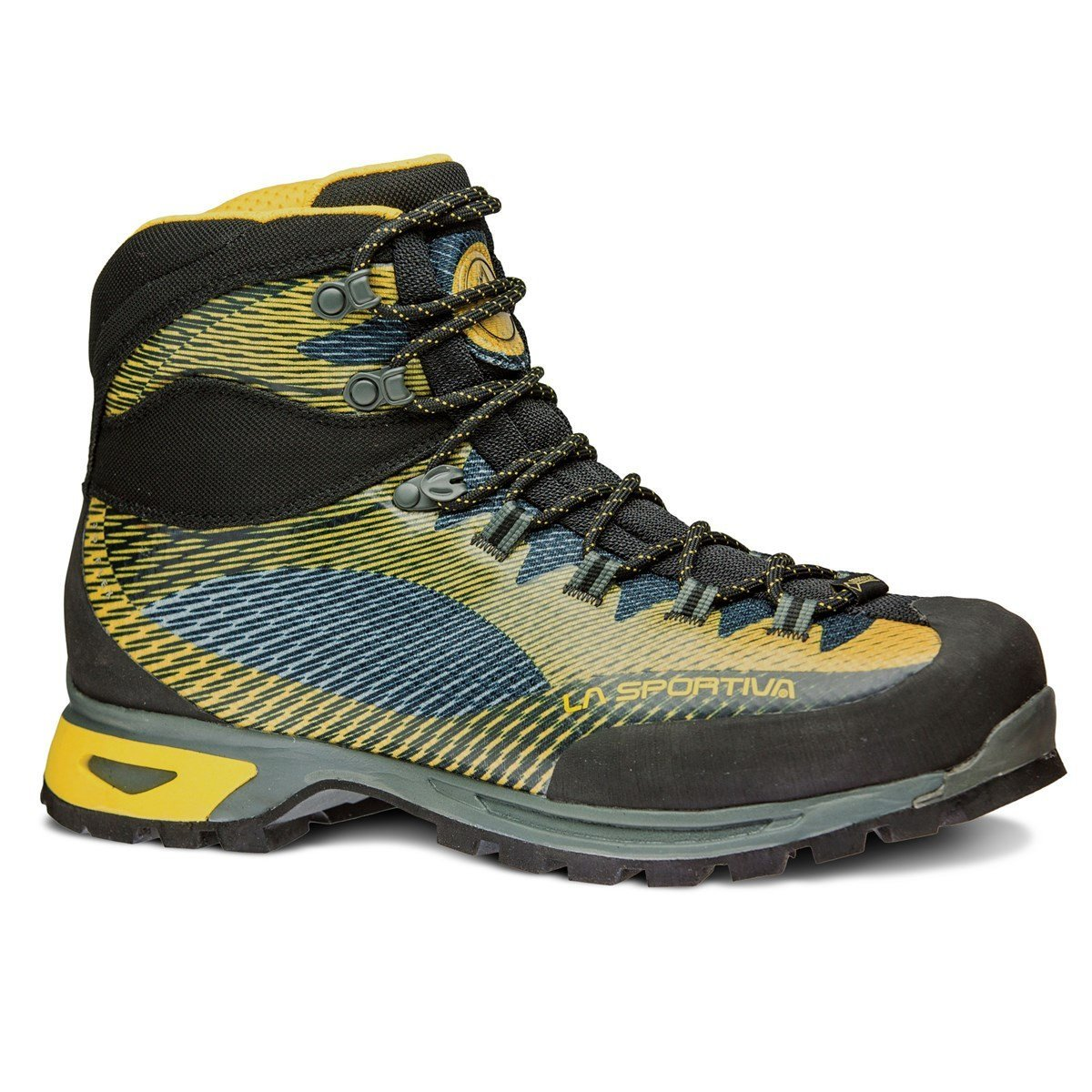 La Sportiva Trango TRK GTX Mountaineering Boot, in black, green and blue colours