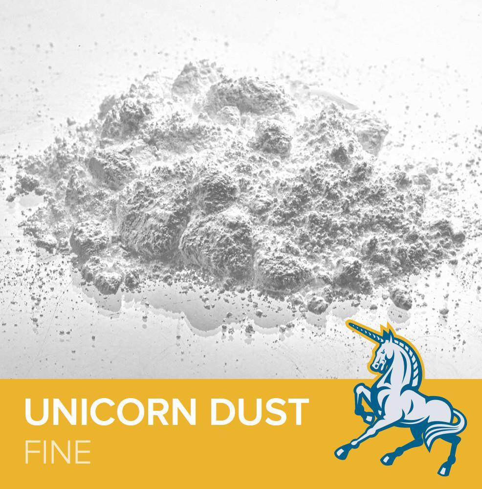 FrictionLabs Unicorn Dust climbing chalk, showing chalk and yellow logo