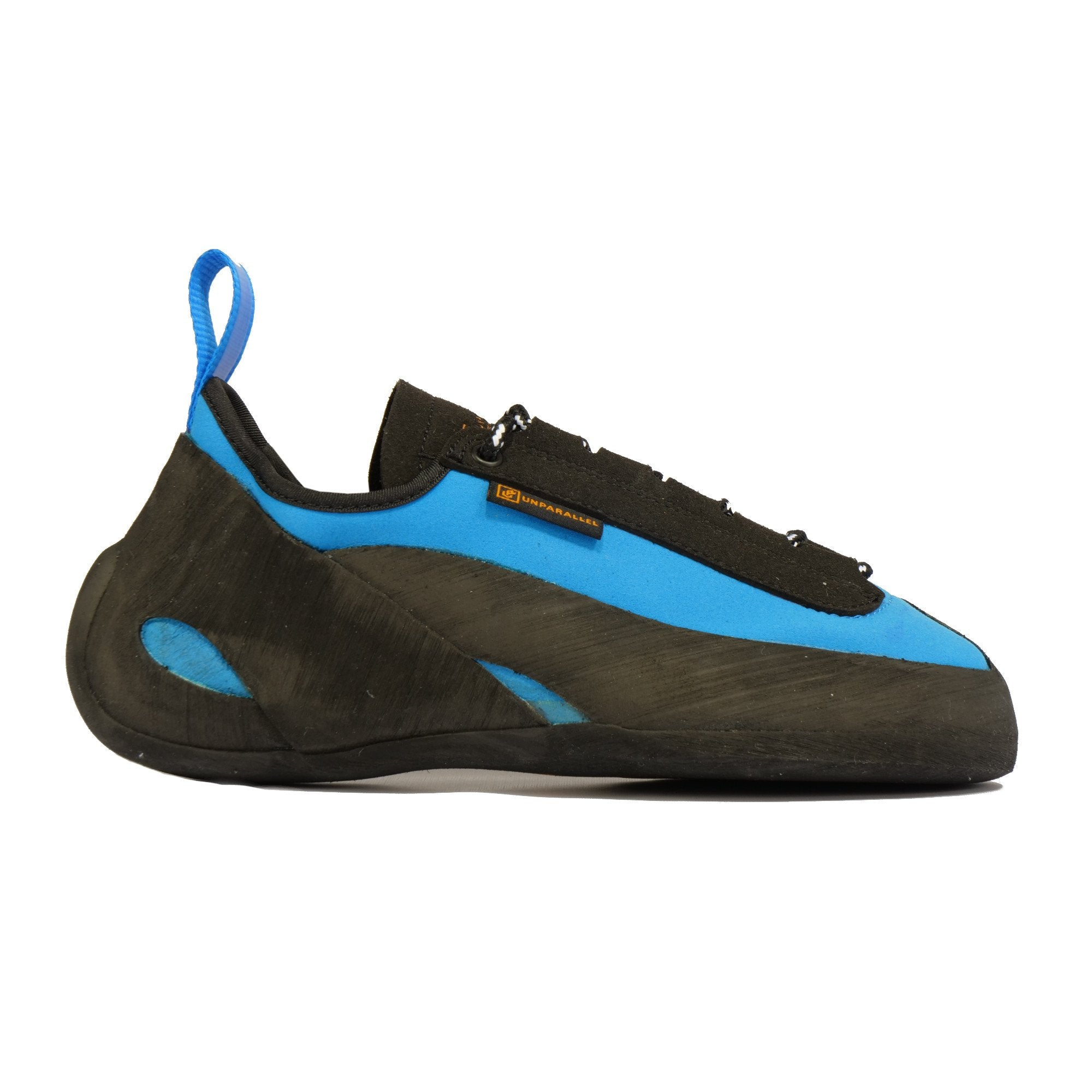 Unparallel Up Lace climbing shoe in Blue and black with rear blue pull tab