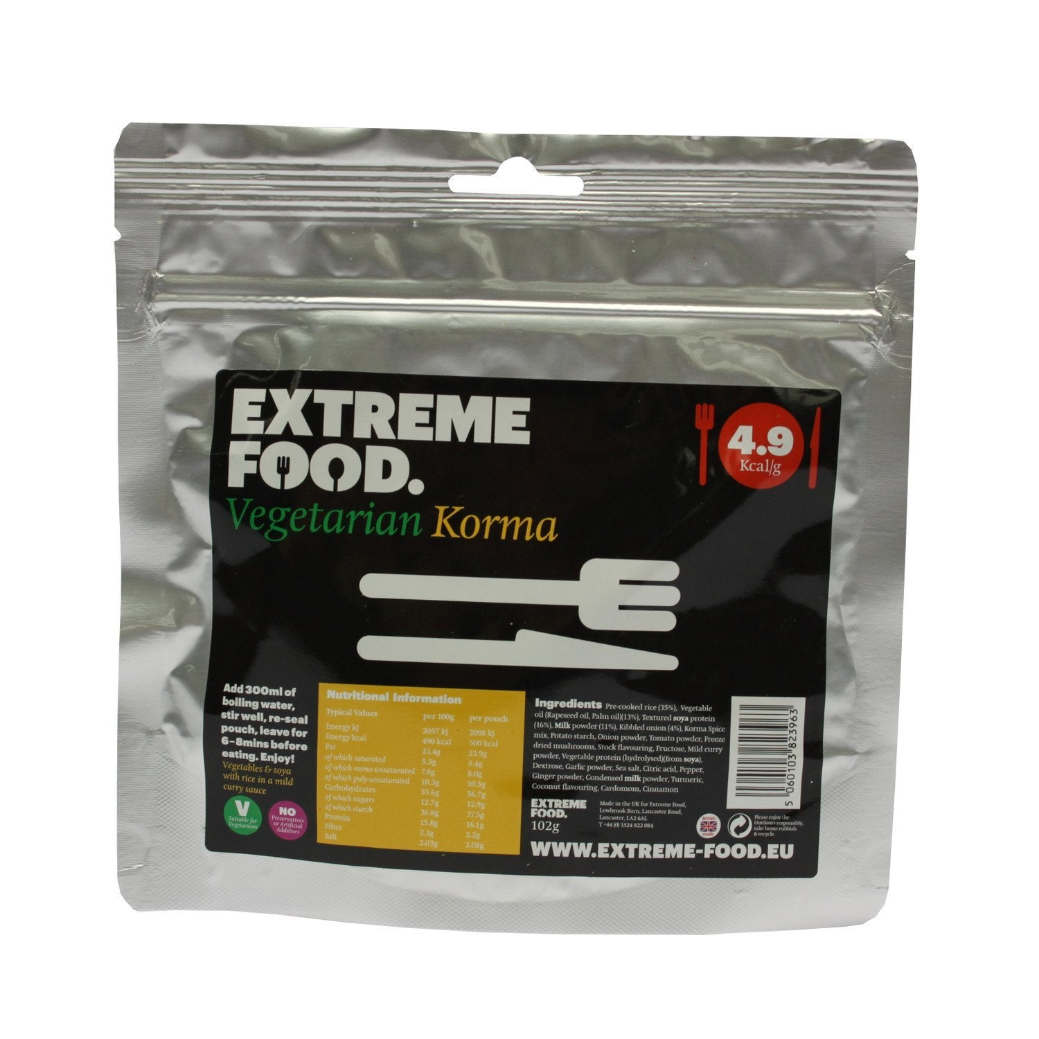 Extreme Food Vegetarian Korma, dried expedition food pack