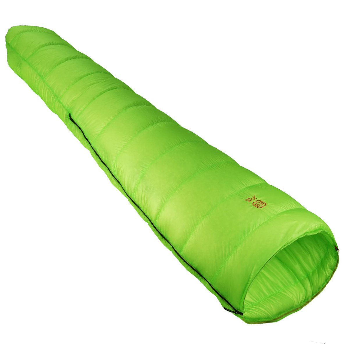 Cumulus X-Lite 200 sleeping bag, shown fully flat and closed in green colour