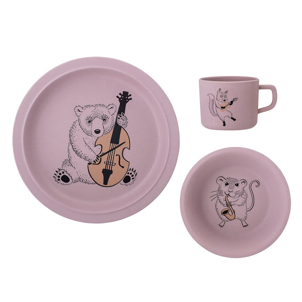 Musical Serving Set, Bamboo, Rose Pink