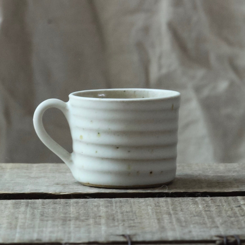 Wheel Thrown Ribbed Espresso Mug, Oatmeal