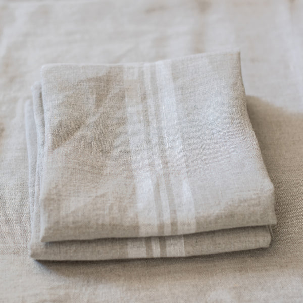 Provencal Tea Towel, White Stripe