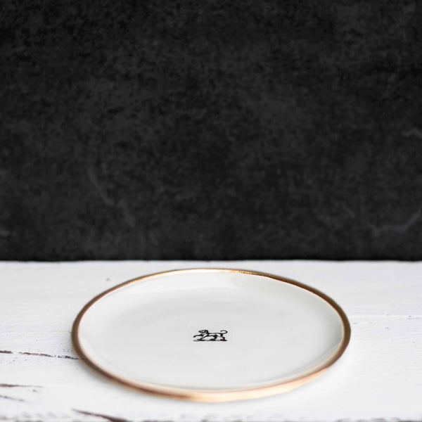 Handmade Little Plate, Gold Rim