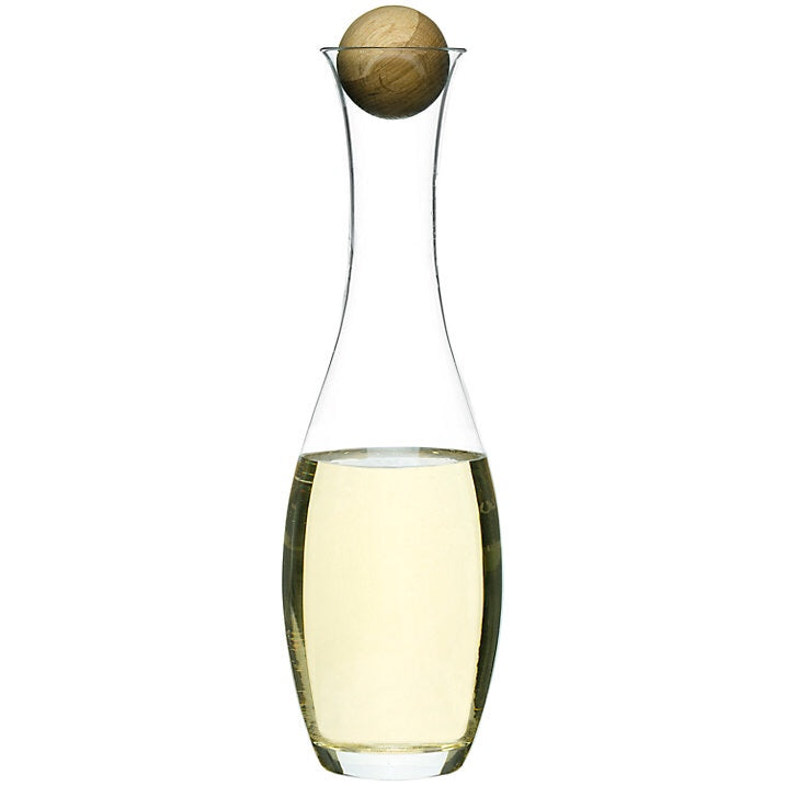 Nordic Mouth Blown Glass Carafe With Oak Stopper