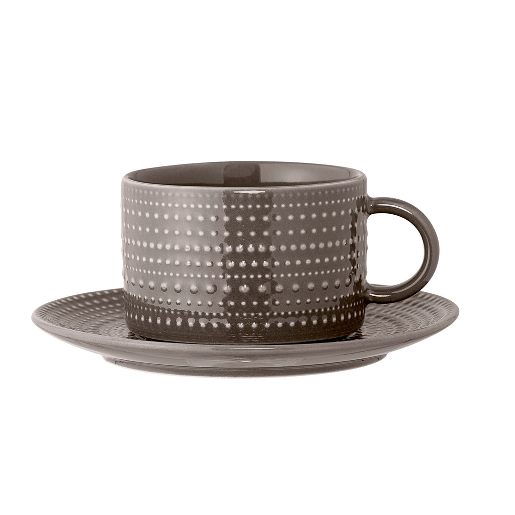 Textured Porcelain Cup and Saucer, Taupe