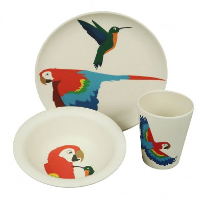 Playful Parrot Bamboo Dining Set
