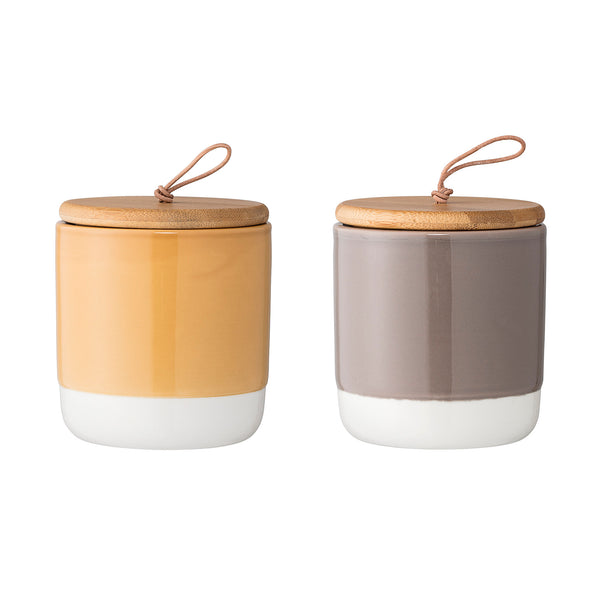 Mustard and Grey Stoneware Storage Jars, Set of 2