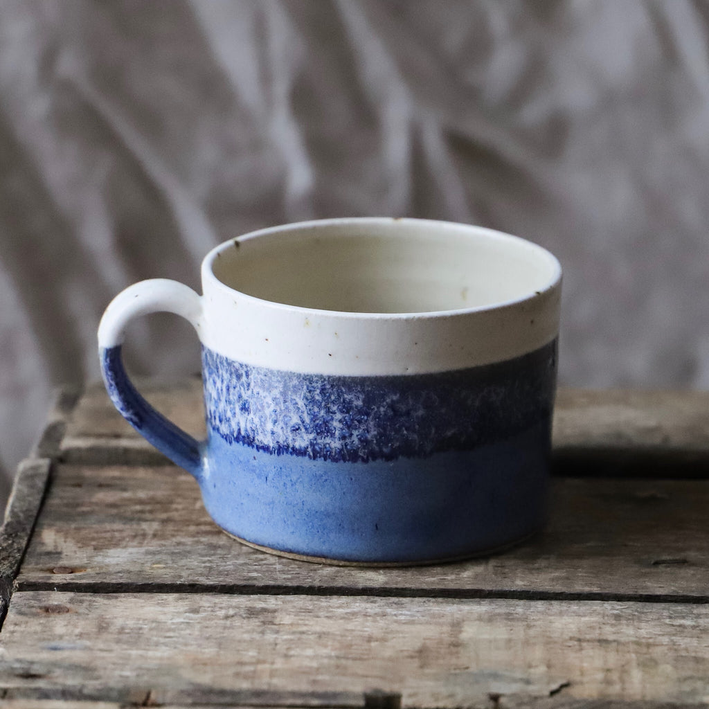 Handmade Horizon Mug, Misty Blue and Oatmeal