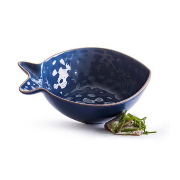Stoneware Fish-Shaped Serving Bowl, Small
