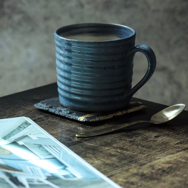 Wheel Thrown Ribbed Mug, Misty Blue