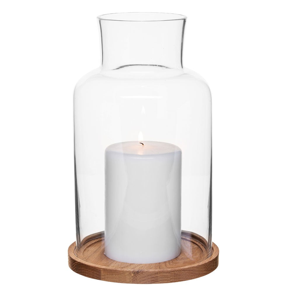 Oak & Glass Candle Holder, Large
