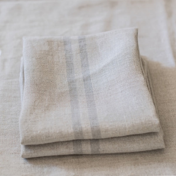 Provencal Tea Towel, Grey Stripe