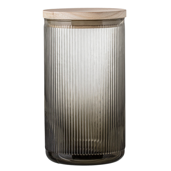 Grey Glass Storage Jar, Tall